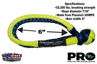 (23720kg Breaking Strength Blue & Yellow) - Gator-Jaw Pro Synthetic Soft Shackle (23720kg Breaking Strength) Blue & Yellow