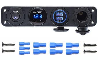 (Four Functions Panel 2) - Cllena Dual USB Socket Charger 2.1A & 2.1A + LED Voltmeter + 12V Power Outlet + ON-OFF Toggle Switch Four Functions Panel for Car Boat Marine RV Truck Camper Vehicles GPS Mobiles (Blue)