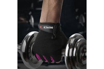 (Large, 01-Black) - BEACE Weight Lifting Gym Gloves with Anti-Slip Leather Palm for Workout Exercise Training Fitness and Bodybuilding for Men & Women