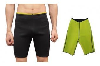 (M(UK 8-10), Pants) - Bakerdani Mens Hot Sweat Thermo Shorts Body Shaper Neoprene Shapewear Comfortable Gym Sauna Pants Black