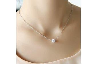 Coobbar S925 pure silver necklace female short design crystal Shambhala ball chain