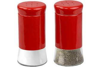 (Red) - Home Basics Essence Collection Salt and Pepper Shaker Set, Red