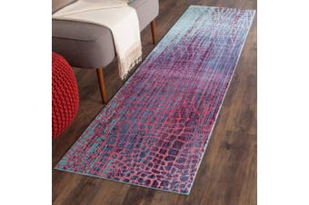 (0.6m x 3m, Blue/Fuchsia) - Safavieh Valencia Collection VAL204D Blue and Fuchsia Distressed Abstract Silky Polyester Runner Rug (0.6m x 3m)