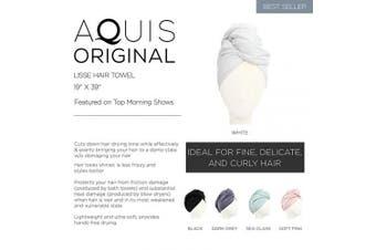 (48cm  x 100cm , Black) - AQUIS - Original Hair Towel, Ultra Absorbent & Fast Drying Microfiber Towel for Fine & Delicate Hair, Black (48cm x 100cm )