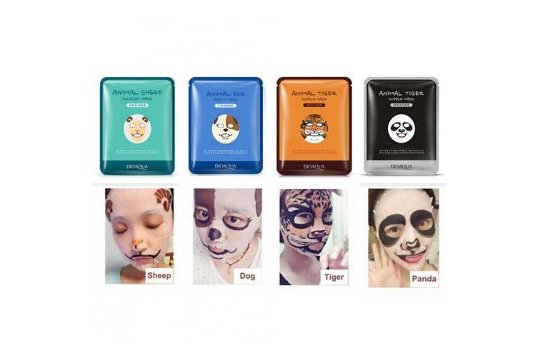 Moisturising Face Mask Sheet Enriched with 100% Natural Serum for Radiant and Nourished Skin. At Home Spa Facial with Fun Animal Characters: Panda, Tiger, Sheep, Dog (4 Sheets)