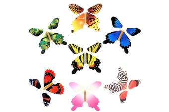 (10pc) - RINHOO 10Pcs Magic Fairy Flying in The Book Butterfly Rubber Band Powered Wind Up Butterfly Toy Great Surprise Wedding Birthday Gift