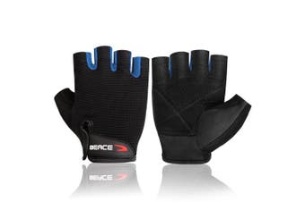 (Small, 01-Blue) - BEACE Weight Lifting Gym Gloves with Anti-Slip Leather Palm for Workout Exercise Training Fitness and Bodybuilding for Men & Women