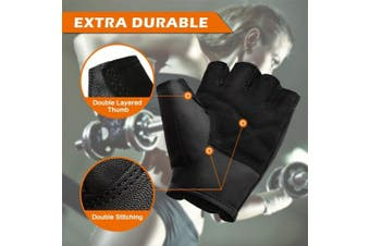 (Medium, 01-Black) - BEACE Weight Lifting Gym Gloves with Anti-Slip Leather Palm for Workout Exercise Training Fitness and Bodybuilding for Men & Women