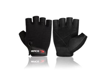 (X-Small, 01-Black) - BEACE Weight Lifting Gym Gloves with Anti-Slip Leather Palm for Workout Exercise Training Fitness and Bodybuilding for Men & Women
