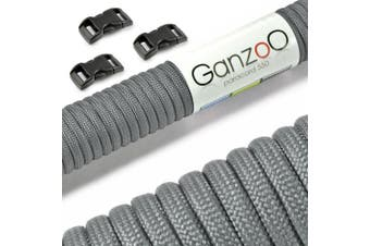(Dark Grey, 30 metres) - Ganzoo Paracord 550 Rope Starter Kit Plain with 3 Click Fasteners for Bracelet, Tying Dog Leads or Dog Collars For Making At Home, Rope 4 mm Thick, Multi-Purpose Cord / Survival Rope / 7 Core Strands, Parachute Cord Maximum