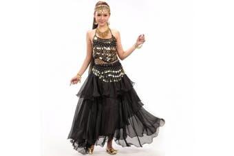 (One size, Black) - Best Dance Women's Belly Dance Costume Dress Skirt Sequins Beads Bells Top Belt Gold Coins Black