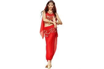 (3Pcs Set, Red) - Best Dance Women Belly Dance Costume Set Red