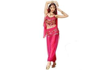 (3Pcs Set, Dark Pink) - Best Dance Women Belly Dance Costume Set Dark Pink