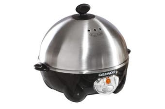 Daewoo 360W Compact Egg & Omelette Cooker with Steam Vents, Boil Dry Protection, Heat-Resistant Handles - Silver/Black