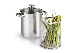 Cook N Home 2478 3 Piece Asparagus Vegetable Steamer Pot, 4 quart, Stainless Steel