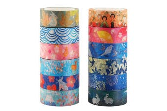 Knaid Kyoto Series Masking Washi Tape Collection for Arts and DIY Crafts, Scrapbooking, Bullet Journal, Planner, Gift Wrapping (Set of 12 Rolls)