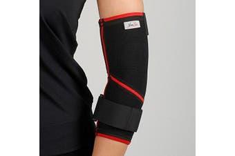 (M) - ArmoLine Tennis Elbow Support Brace Left Arm Gym Epicondylitis Strap Pain Wrap Sleeve Arthritis Sport Arm Guard Golfers Epi Bandage Neoprene Adjustable (M)