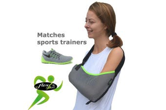Arm support, shoulder sling (lime trim) ONE-SIZE sporty look, big enough for the largest arm, reduces for youngsters. LUXURIOUSLY soft-stretch, ultra-light airflow, deep pocket contours the arm. Reversible L or R fit. Unisex. (GREY/Lime trim)