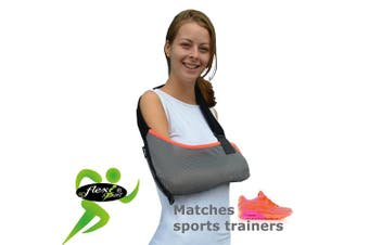 Arm support, shoulder sling (coral/orange trim) ONE-SIZE sporty look, big enough for the largest arm, reduces for youngsters. LUXURIOUSLY soft-stretch, ultra-light airflow, deep pocket contours the arm. Reversible L or R fit. Unisex. (GREY/Coral trim)