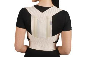 (XXL, Beige) - Armoline Posture Corrector Back Brace Support Shoulder Belt Adjustable Women Men (XXL, Beige)