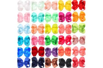 (30 Pcs 6 Inch) - 30 Colours 15cm Bows for Baby Girls Big Grosgrain Girls 15cm Hair Bows Alligator Clips For Teens Kids Toddlers
