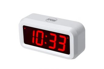 (White) - ChaoRong Battery Operated Only Digital Alarm Clock with 3cm Large LED Display. You Can Place It Anywhere. 4pcs Batteries Can Keep the Time Display Day and Night for More Than One Year