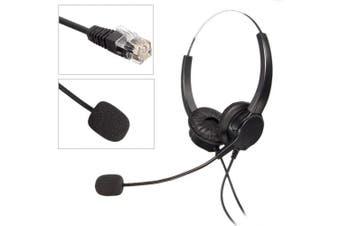 (1) - Binaural Crystal Head jack Headset, M.Way Hands-Free Noise Cancelling Binaural Headset Headphones with Mic, Microphone, Comfort Fit Headband Call Centre Headset Headphone For Desk Telephone