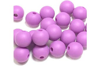 (15MM 100 Pieces, 06 PURPLE) - Silicone Beads for Teething | 15mm 100pc Jewellery Making Beads | Food Grade BPA Free Chewable Beads for Teethers, Nursing Necklaces, Bracelets (15mm, 06 Purple)