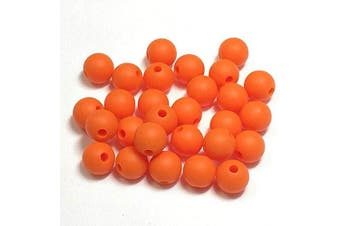 (9MM 100 Pieces, 12 ORANGE) - Silicone Beads for Teething | 9mm 100pc Jewellery Making Beads | Food Grade BPA Free Chewable Beads for Teethers, Nursing Necklaces, Bracelets (9mm, 12 Orange)