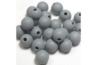 (9MM 100 Pieces, 04 DARK GRAY) - Silicone Beads for Teething | 9mm 100pc Jewellery Making Beads | Food Grade BPA Free Chewable Beads for Teethers, Nursing Necklaces, Bracelets (9mm, 04 Dark Grey)