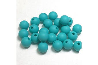 (9MM 100 Pieces, 18 TURQUOISE) - Silicone Beads for Teething | 9mm 100pc Jewellery Making Beads | Food Grade BPA Free Chewable Beads for Teethers, Nursing Necklaces, Bracelets (9mm, 18 Turquoise)