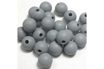 (12MM 100 Pieces, 04 DARK GRAY) - Silicone Beads for Teething | 12mm 100pc Jewellery Making Beads | Food Grade BPA Free Chewable Beads for Teethers, Nursing Necklaces, Bracelets (12mm, 04 Dark Grey)