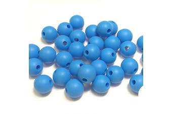 (9MM 100 Pieces, 19 SKYBLUE) - Silicone Beads for Teething | 9mm 100pc Jewellery Making Beads | Food Grade BPA Free Chewable Beads for Teethers, Nursing Necklaces, Bracelets (9mm, 19 SkyBlue)