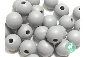 (12MM 100 Pieces, 03 LIGHT GRAY) - Silicone Beads for Teething | 12mm 100pc Jewellery Making Beads | Food Grade BPA Free Chewable Beads for Teethers, Nursing Necklaces, Bracelets (12mm, 03 Light Grey)