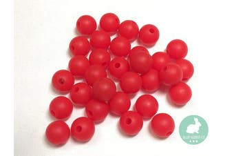 (12MM 100 Pieces, 08 RED) - 100PC 12mm Premium Round Silicone Loose Bead for Sensory Teethers, Nursing Necklaces, Bracelets and Fashionable Jewellery | Chewing Beads (12mm, 8 RED)