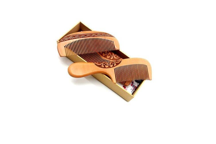 ZuiKyuan Wooden Hair Comb No Static Hair Detangler Detangling Comb with Premium Gift Box 3 Pcs