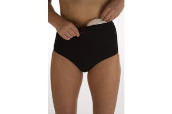 (M/L, Black) - Comfizz Women's Ostomy, Hernia or Post Surgery Support Briefs – High waist - Level 1 Light Support (M/L, Black)