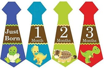 Belly Doodles 16 Monthly Baby Stickers Boys Necktie Dinosaurs 17cm x 6.4cm (1-12 Months)