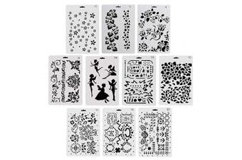 COCODE Plastic Drawing Painting Stencil Templates Set of 10 with Geometry Pattern, Flowers, Angel Shape, Heart Shape Pecfect for Notebook/Diary/Scrapbook/Journaling/Card DIY Craft Projects