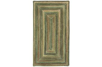 (2 x 3) - Capel Rugs Eaton Rectangle Braided Area Rug, 2 x 3, Green