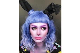 (Blue Light Purple Ombre) - Alacos Fashion Harajuku Lolita 35cm Short Curly Bob Cut Christmas Halloween Synthetic Anime Cosplay Wig for Women +Free Wig Cap (Blue Light Purple Ombre)