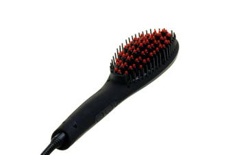 (Black) - Silky straight magic hair straightener brush with temperature control and lcd display - black