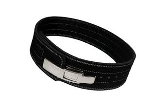 (Large) - ARD CHAMPS10MM Weight Power Lifting Leather Lever Pro Belt Gym Training Black