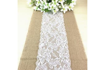 (Pack of 10, Pattern 6) - ChezMax Burlap Lace Hessian Table Runner For Wedding Party Engagement Event Birthday Graduation Banquet Table Decoration White