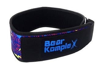 (Medium 80cm  - 90cm  waist, Lightning) - Bear KompleX 10cm Straight Weightlifting Belt for Powerlifting, Squats, Weight Training and More. Low Profile with Super Firm Back for Maximum Stability & Exceptional Comfort.