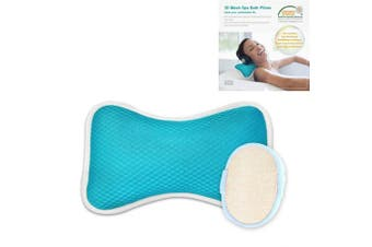 (Blue) - Non-Slip Bath Pillow with Suction Cups, Supports Neck and Shoulders Home Spa Pillows for Bathtub, Hot Tub, Jacuzzi, Anti Bacterial & Comfy - Blue