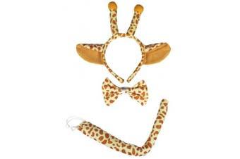 (Brown Giraffe) - Petitebelle Headband Bowtie Tail Unisex Children 3pc Costume (Brown Giraffe)