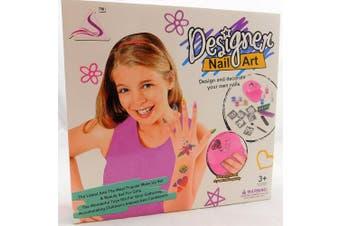 Girls designer Nail Art Set with nail dryer stencils for glitter art