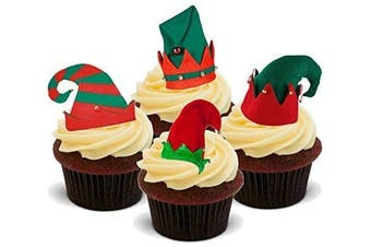 Christmas Xmas Elf Elves Hat Mix - Fun Novelty PREMIUM STAND UP Edible Wafer Paper Cake Toppers Decoration