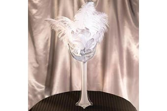 White Masquerade Party Centrepiece - Includes a 30cm Tall White Glass Vase, 3 White Feathers and a White Mask